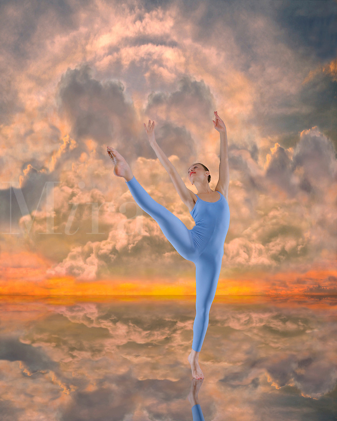 Digital illustration: female modern dancer in heavenly sky.