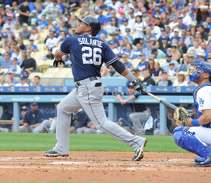 San Diego Padres Yangervis Solarte (26) during a game against the Los Angeles Dodgers on May 24, 2015 at Dodgers Stadium in Los Angeles, CA, The Padres beat the Dodgers 11-3.