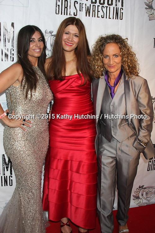 "LOS ANGELES - JUL 23:  Patricia Lauriet, Carolin Von Petzholdt, Ursel Walldorf at the ""The Boom Boom Girls of Wrestling"" Premiere at the Downtown Independent Theater on July 23, 2015 in Los Angeles, CA"