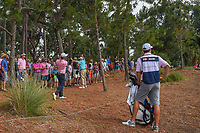 Jon Rahm (ESP) hits his approach shot tight from the pine needles on 1 during round 4 of The Players Championship, TPC Sawgrass, at Ponte Vedra, Florida, USA. 5/13/2018.<br /> Picture: Golffile | Ken Murray<br /> <br /> <br /> All photo usage must carry mandatory copyright credit (&copy; Golffile | Ken Murray)