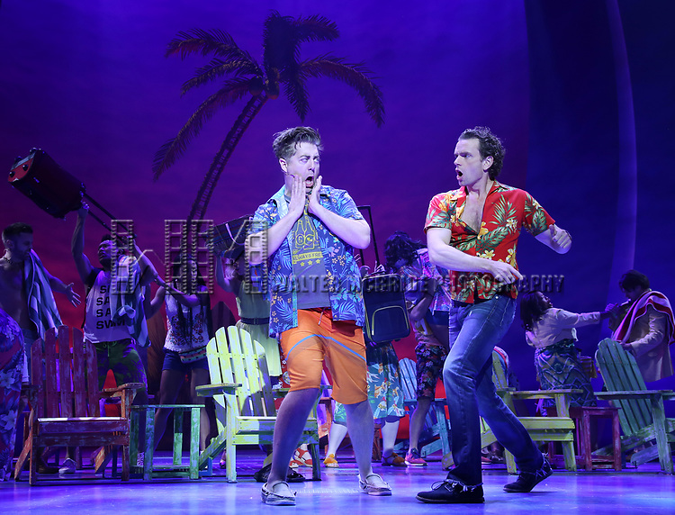 Eric Peterson, Paul Alexander Nolan with cast during the Press Sneak Peak for the Jimmy Buffett  Broadway Musical 'Escape to Margaritaville' on February 15, 2018 at the Marquis Theatre in New York City.