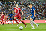 Chelsea Forward Alvaro Morata (R) in action against Bayern Munich Midfielder Javi Martinez (L) during the International Champions Cup match between Chelsea FC and FC Bayern Munich at National Stadium on July 25, 2017 in Singapore. Photo by Marcio Rodrigo Machado / Power Sport Images