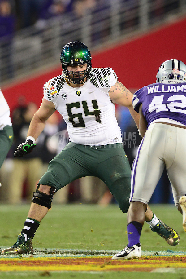 Jan. 3, 2013; Glendale, AZ, USA: Oregon Ducks offensive lineman Tyler Johnstone against the Kansas State Wildcats during the 2013 Fiesta Bowl at University of Phoenix Stadium. Oregon defeated Kansas State 35-17. Mandatory Credit: Mark J. Rebilas-