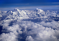 ARIAL view of the HIMALAYAS covered in snow - flight between KATMANDU, NEPAL & LHASA, TIBET