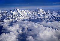 ARIAL view of the HIMALAYAS covered in snow - flight between KATMANDU, NEPAL & LHASA, TIBET