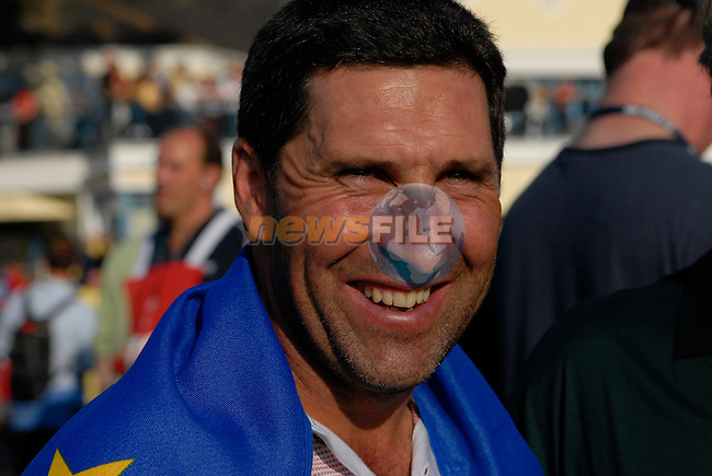 September 24th, 2006. European  Ryder Cup team player Jose Maria Olazabal after his team won the singles final session of the last day of the 2006 Ryder Cup at the K Club in Straffan,. County Kildare in the Republic of Ireland...Photo: Eoin Clarke/ Newsfile.<br />