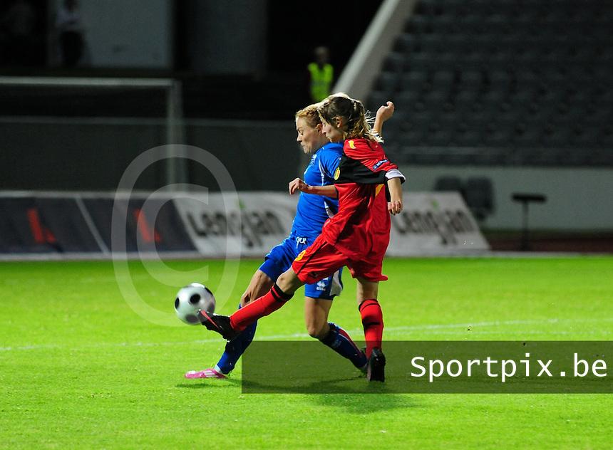 Iceland : UEFA Women's Euro Qualifying group stage (Group 3) - 21/09/2011 - 21:30CET (19:30 local time) - Laugardalsvöllur - Reykjavik : ICELAND (ijsland) - BELGIUM ( Belgie) : Tessa Wullaert met het schot .foto DAVID CATRY / Vrouwenteam.be