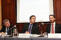 NO REPRO FEE. 20/5/2011. Irish Council for Civil Liberties- Tell UN of Irelands failure to combat inhuman and degrading treatment. Pictured at a press Briefing in Buswells Hotel, Dublin are L-R a Liam Herrick, Irish Penal Reform Trust, Mark Kelly, Director, Irish Council for Civil Liberties and John Stanly, Irish Refugee Council.  Picture James Horan/Collins Photos