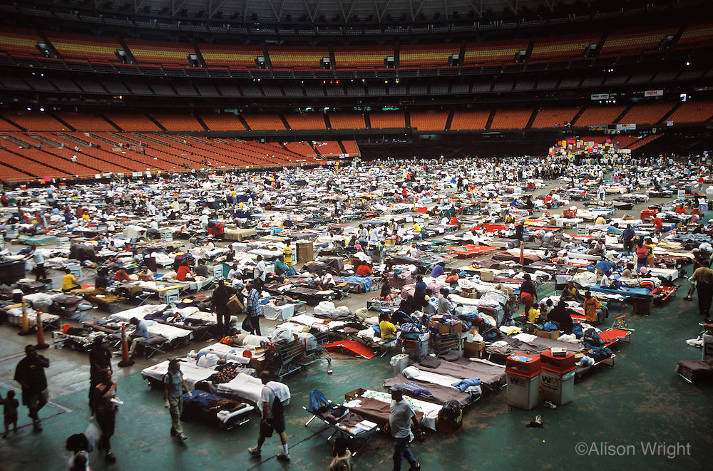 Aftermath of Hurricane Katrina. People camping for shelter in the Houston dome, Texas.