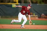 Boston College Eagles second baseman Brandon Stone (38) fields a ground ball during a game against the Minnesota Golden Gophers on February 23, 2018 at North Charlotte Regional Park in Port Charlotte, Florida.  Minnesota defeated Boston College 14-1.  (Mike Janes/Four Seam Images)