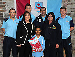 Muqaddas Qaddous winner of the penalty Competition at Scotch Hall pictured with Drogheda United players Gabriel Sava, Eric Foley and Cathal Brady, assistant manager Robbie Horgan, Marion Caddell representing Scotch Hall and Brenda Murphy Boyne Fishermans rescue and Recovery Service. Photo: Colin Bell/pressphotos.ie