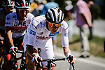 White Jersey Tadej Pogacar (SLO) UAE Team Emirates in the peloton during Stage 6 of Tour de France 2020, running 191km from Le Teil to Mont Aigoual, France. 3rd September 2020.<br /> Picture: ASO/Pauline Ballet | Cyclefile<br /> All photos usage must carry mandatory copyright credit (© Cyclefile | ASO/Pauline Ballet)