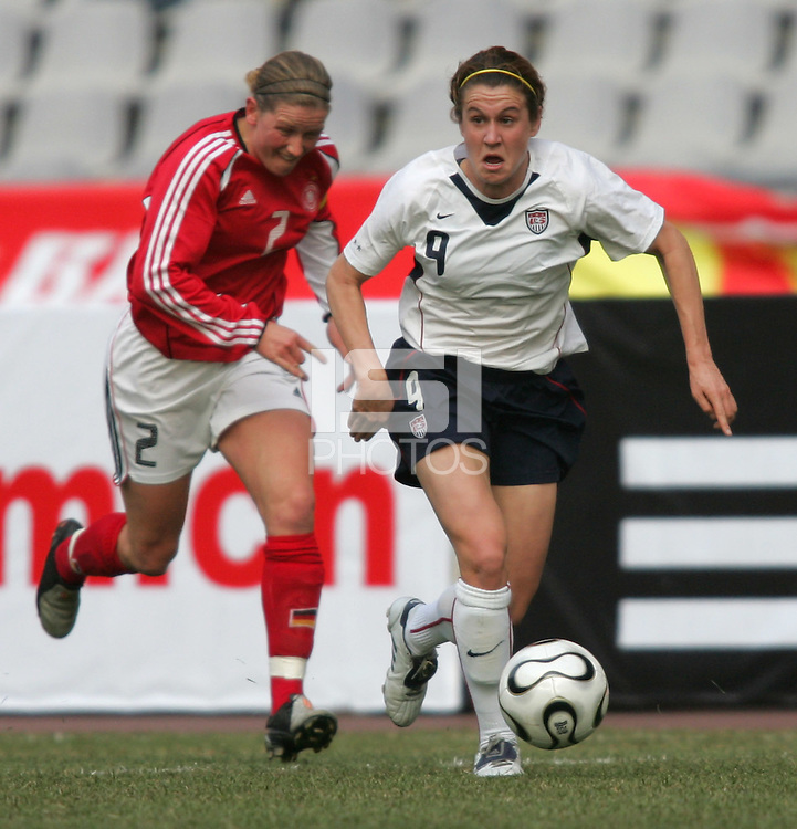 January 26, 2007:  The USWNT and Germany tied, 0-0. Heather O'Reilly