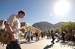 0408-38 GCS 1st Day of School..Brigham's Square, HBLL, HFAC, WSC, Y Mountain, Students walking..8/30/04..Photo by Jaren Wilkey/BYU..Copyright BYU 2004.photo@byu.edu  801-422-7322
