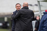 Plymouth Argyle manager Derek Adams greets Fleetwood Town manager Uwe Rosler during the Sky Bet League 1 match between Plymouth Argyle and Fleetwood Town at Home Park, Plymouth, England on 7 October 2017. Photo by Mark  Hawkins / PRiME Media Images.