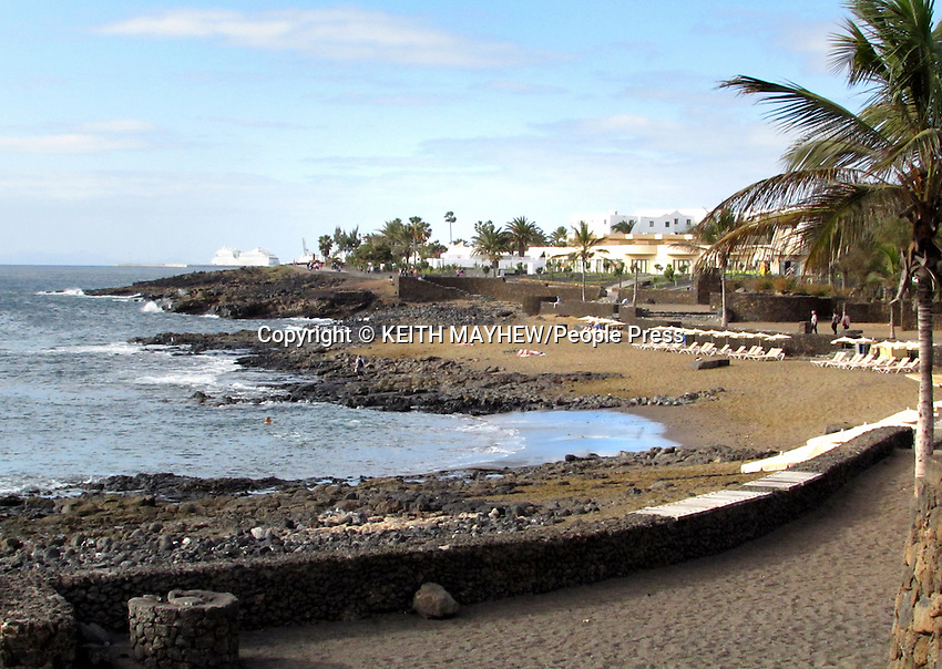 LANZAROTE, CANARY ISLANDS - Playa Bastian in the beach resort of Costa Teguise during January 2016 in Lanzarote, Canary Islands<br /> <br /> Photo by Keith Mayhew