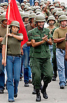 Members of the Venezuelan National Reserve practice marching for a military parade in Fuerte Tiuna, a military facility in Caracas, Venezuela, on Saturday, Jun. 17, 2006. (ALTERPHOTOS/Alvaro Hernandez)