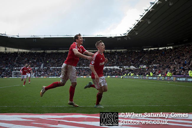 Derby County 1 Nottingham Forest 2, 17/01/2015. iPro Stadium, Championship. Visiting winger Ben Osborn (right) celebrating after scoring the winning goal in injury time during the second-half of Derby Country's Championship match against Nottingham Forest at the iPro Stadium, Derby. The match was won by the visitors by 2 goals to 1, watched by a derby-day crowd of 32,705. The stadium, opened in 1997, was formerly known as Pride Park. Photo by Colin McPherson.