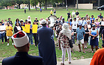 WATERBURY CT. 14 August 2017-081417SV13-People come together while listening to speakers at a &quot;solidarity&quot; gathering in Library Park in Waterbury Monday. The gathering was in response to Saturday's protests in Charlottesville, VA. <br /> Steven Valenti Republican-American
