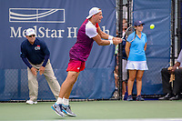 Washington, DC - August 3, 2019:  Lukasz Kubot (POL) streches for the ball during the  Men Doubles semi finals at William H.G. FitzGerald Tennis Center in Washington, DC  August 3, 2019.  (Photo by Elliott Brown/Media Images International)