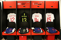 The England U21 shirts of Jake Clarke-Salter, Aaron Ramsdale, Jay DaSilva and Ezri Konsa on display in their dressing room ahead of kick-off during Mexico Under-21 vs England Under-21, Tournoi Maurice Revello Final Football at Stade Francis Turcan on 9th June 2018