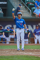 Marcus Chiu (13) of the Ogden Raptors bats against the Great Falls Voyagers at Lindquist Field on August 21, 2018 in Ogden, Utah. Great Falls defeated Ogden 14-5. (Stephen Smith/Four Seam Images)