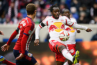 Peguy Luyindula (8) of the New York Red Bulls. The New York Red Bulls and Chivas USA played to a 1-1 tie during a Major League Soccer (MLS) match at Red Bull Arena in Harrison, NJ, on March 30, 2014.