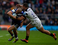 Bath Rugby's Jonathan Joseph is tackled by Bristol Bears' Alapati Leiua<br /> <br /> Photographer Bob Bradford/CameraSport<br /> <br /> Gallagher Premiership - Bath Rugby v Bristol Bears - Saturday 6th April 2019 - The Recreation Ground - Bath<br /> <br /> World Copyright © 2019 CameraSport. All rights reserved. 43 Linden Ave. Countesthorpe. Leicester. England. LE8 5PG - Tel: +44 (0) 116 277 4147 - admin@camerasport.com - www.camerasport.com