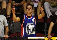 A Giants fan celebrates victory during the NBL Round 2 basketball match between the Wellington Saints and Nelson Giants at TSB Bank Arena, Wellington, New Zealand on Thursday 19 March 2009. Photo: Dave Lintott / lintottphoto.co.nz