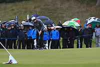 Tyrrell Hatton (ENG) on the 3rd green during Round 1 of the Betfred British Masters 2019 at Hillside Golf Club, Southport, Lancashire, England. 09/05/19<br /> <br /> Picture: Thos Caffrey / Golffile<br /> <br /> All photos usage must carry mandatory copyright credit (© Golffile | Thos Caffrey)