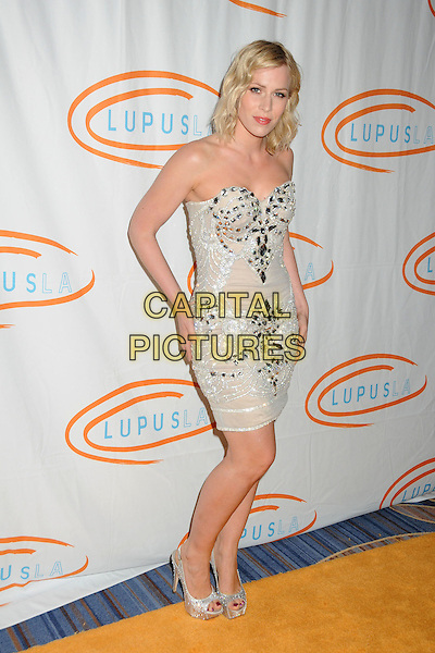 Natasha Bedingfield.12th Annual Lupus LA Orange Ball held at the Beverly Wilshire Hotel, Beverly Hills, California, USA..May 24th, 2012.full length white beige dress strapless embellished jewel encrusted hand on hip.CAP/ADM/BP.©Byron Purvis/AdMedia/Capital Pictures.