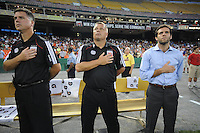 DC United Head Coach Ben Olsen (right) assistant coach and technical director Chad Ashton (middle) and assistant coach Kris Kelderman (left)  FC Dallas defeated DC United 3-1 at RFK Stadium, Saturday August 14, 2010.