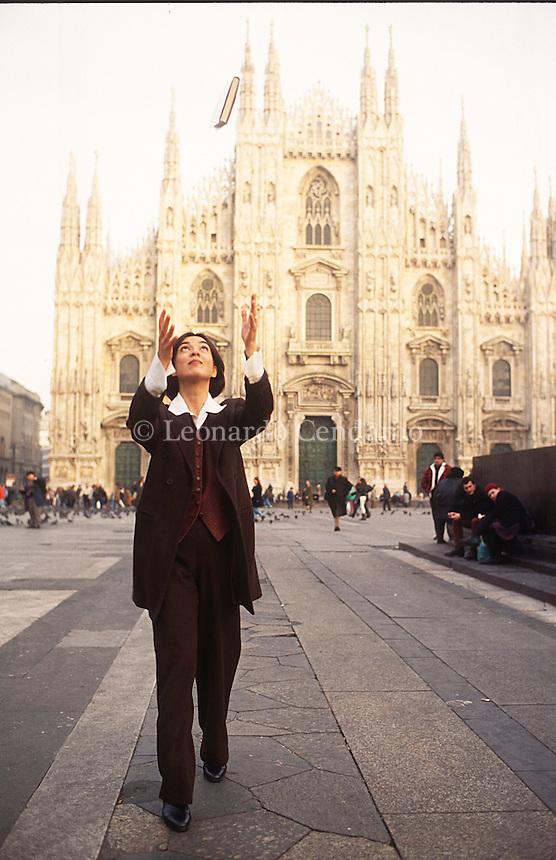 Daria Bignardi è una giornalista, conduttrice televisiva e scrittrice italiana. Milano, aprile 1990. © Leonardo Cendamo