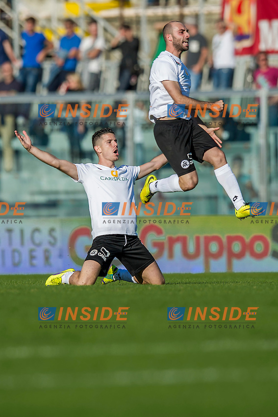 Esultanza Gol 0-1 Andrea Catellani, Francesco Migliore Spezia<br /> Livorno 25-10-2014 Stadio Armando Picchi - Football Calcio Serie B 2014 / 2015 Livorno - Spezia<br /> Foto Andrea Masini / Insidefoto