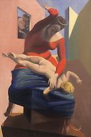 """Europe/Allemagne/Rhénanie du Nord-Westphalie/Cologne: le Musée Ludwig Tableau de Max Ernst """" la vierge corrigeant l'enfant Jésus devant trois témons André Eluard, Paul Breton et le peintre"""