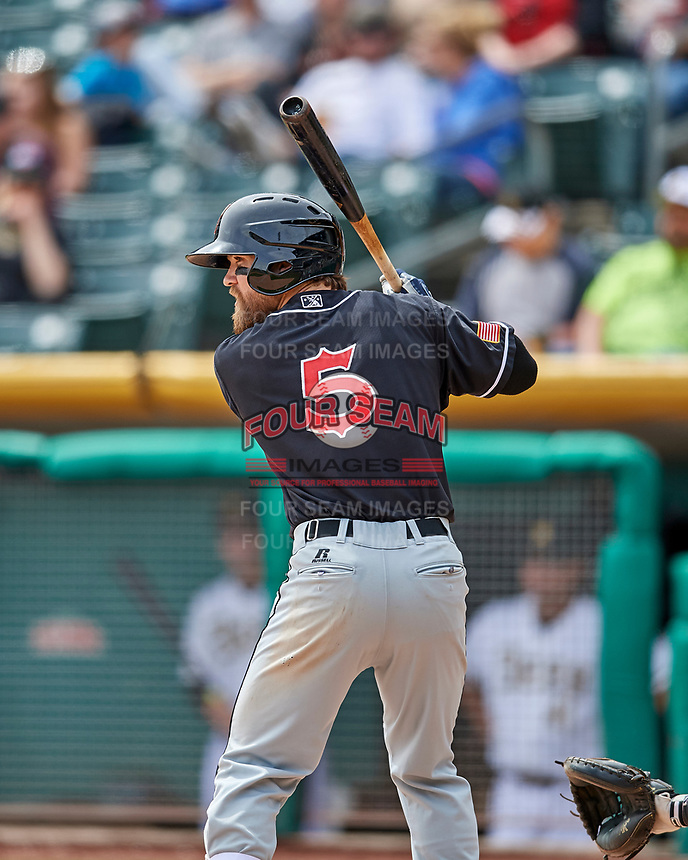 Collin Cowgill (5) of the El Paso Chihuahuas at bat against the Salt Lake Bees in Pacific Coast League action at Smith's Ballpark on April 30, 2017 in Salt Lake City, Utah. El Paso defeated Salt Lake 3-0. This was Game 1 of a double-header. (Stephen Smith/Four Seam Images)