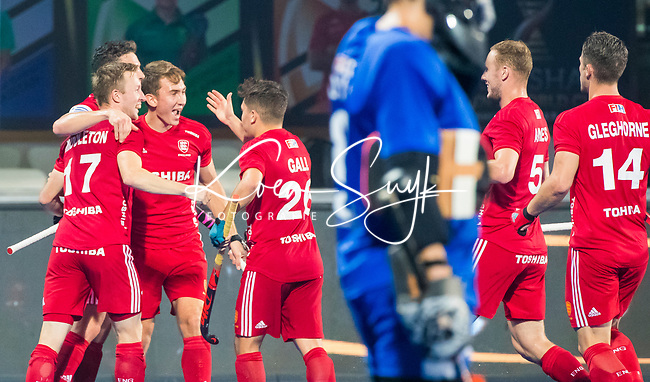 BHUBANESWAR - Will Calnan (Eng) scored 1-0,  .England-New Zealand (2-0)   during Wold Cup Hockey men. COPYRIGHT KOEN SUYK