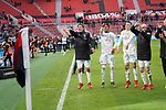 17.03.2019, BayArena, Leverkusen, GER, 1. FBL, Bayer 04 Leverkusen vs. SV Werder Bremen,<br />  <br /> DFL regulations prohibit any use of photographs as image sequences and/or quasi-video<br /> <br /> im Bild / picture shows: <br /> die Bremer bedanken sich bei den Fans und feiern <br /> Max Kruse (Werder Bremen #10)<br /> Theodor Gebre Selassie (Werder Bremen #23)<br /> Maximilian Eggestein (Werder Bremen #35)<br /> Davy Klaassen (Werder Bremen #30)<br /> <br /> <br /> Foto © nordphoto / Meuter