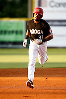 Jaylin Davis (31) of the Chattanooga Lookouts makes his way around the bases after hitting a homerun in a game against the Mississippi Braves on August 04, 2018 at AT&T Field in Chattanooga, Tennessee. (Andy Mitchell/Four Seam Images)
