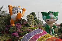 """Tian'anmen Square (Place of Heavenly Peace). Flower display with Beijing 2008 Olympics mascots (""""Friendlies"""") from left: Yingying the Tibetan antelope and Nini the swallow."""