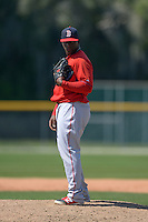Boston Red Sox pitcher German Taveras (77) during a minor league spring training game against the Baltimore Orioles on March 18, 2015 at Buck O'Neil Complex in Sarasota, Florida.  (Mike Janes/Four Seam Images)
