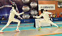 BOGOTA – COLOMBIA – 26 – 05 – 2017: Luis Enrique Petterson (Izq.) de Cuba, combate con Maksym Khvorost (Der.) de Ucrania, durante Varones Mayores Epee del Gran Prix de Espada Bogota 2017, que se realiza en el Centro de Alto Rendimiento en Altura, del 26 al 28 de mayo del presente año en la ciudad de Bogota.  / Luis Enrique Petterson (L) from Cuba, fights with Maksym Khvorost (R) from Ukraine, during Senior Men´s Epee of the Grand Prix of Espada Bogota 2017, that takes place in the Center of High Performance in Height, from the 26 to the 28 of May of the present year in The city of Bogota.  / Photo: VizzorImage / Luis Ramirez / Staff.