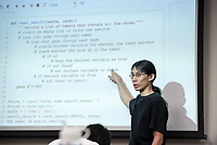 Assistant professor Justin Li teaches computer science class in Mosher 3 on Sept. 25, 2017.<br /> (Photo by Marc Campos, Occidental College Photographer)