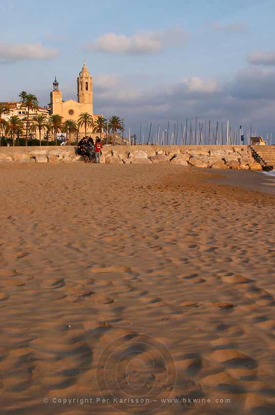 San Barthomieu i Santa Tecla church. Beach. Sitges, Catalonia, Spain
