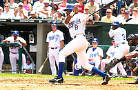 Kansas City Royals shortstop Neifi Perez bats in the second inning against the Chicago White Sox at Kauffman Stadium in Kansas City, Missouri on July 18, 2002.  Kansas City won 5-3 for it's seventh straight win.