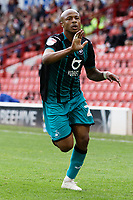 Andre Ayew of Swansea City celebrates his goal during the Sky Bet Championship match between Barnsley and Swansea City at Oakwell Stadium, Barnsley, England, UK. Saturday 19 October 2019
