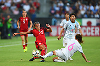 Carson, CA - Thursday August 03, 2017: Mallory Pugh, Rumi Utsugi during a 2017 Tournament of Nations match between the women's national teams of the United States (USA) and Japan (JPN) at the StubHub Center.