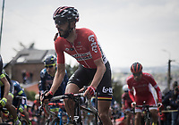 Jelle Vanendert (BEL/Lotto-Soudal) up the infamous Mur de Huy while having an energy gel ready for a boost later on<br /> <br /> 81st La Fl&egrave;che Wallonne (1.UWT)<br /> One Day Race: Binche &rsaquo; Huy (200.5km)