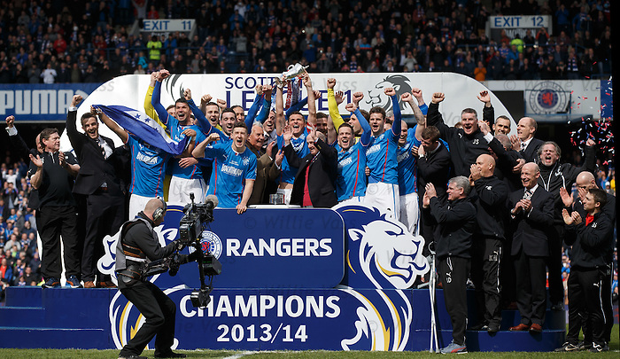 Rangers with the league championship trophy