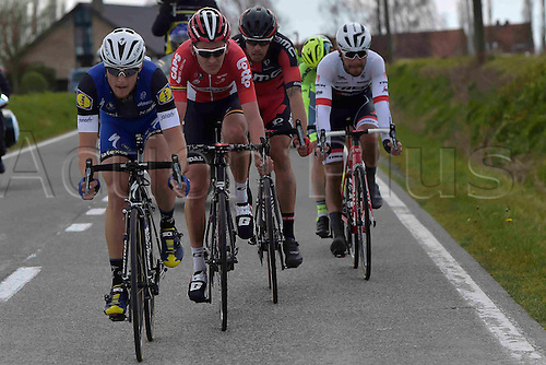 27.03.2016. Deinze, Belgium.  MAES Nikolas (BEL) Rider of ETIXX - QUICK STEP and BENOOT Tiesj (BEL) Rider of LOTTO SOUDAL in action during the Flanders Classics UCI World Tour 78nd Gent-Wevelgem cycling race with start in Deinze and finish in Wevelgem